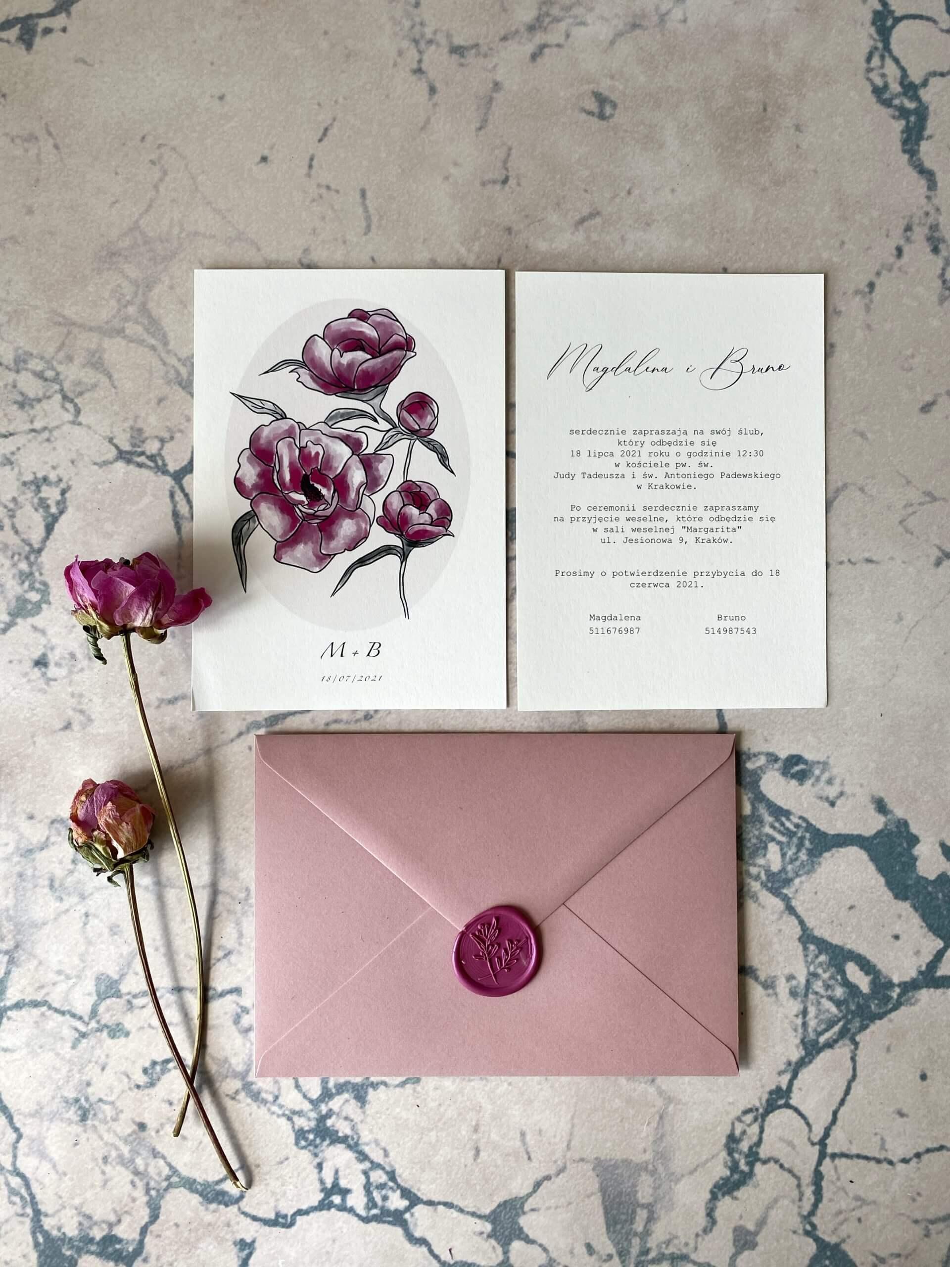 zaproszenie ślubne różowe piwonie