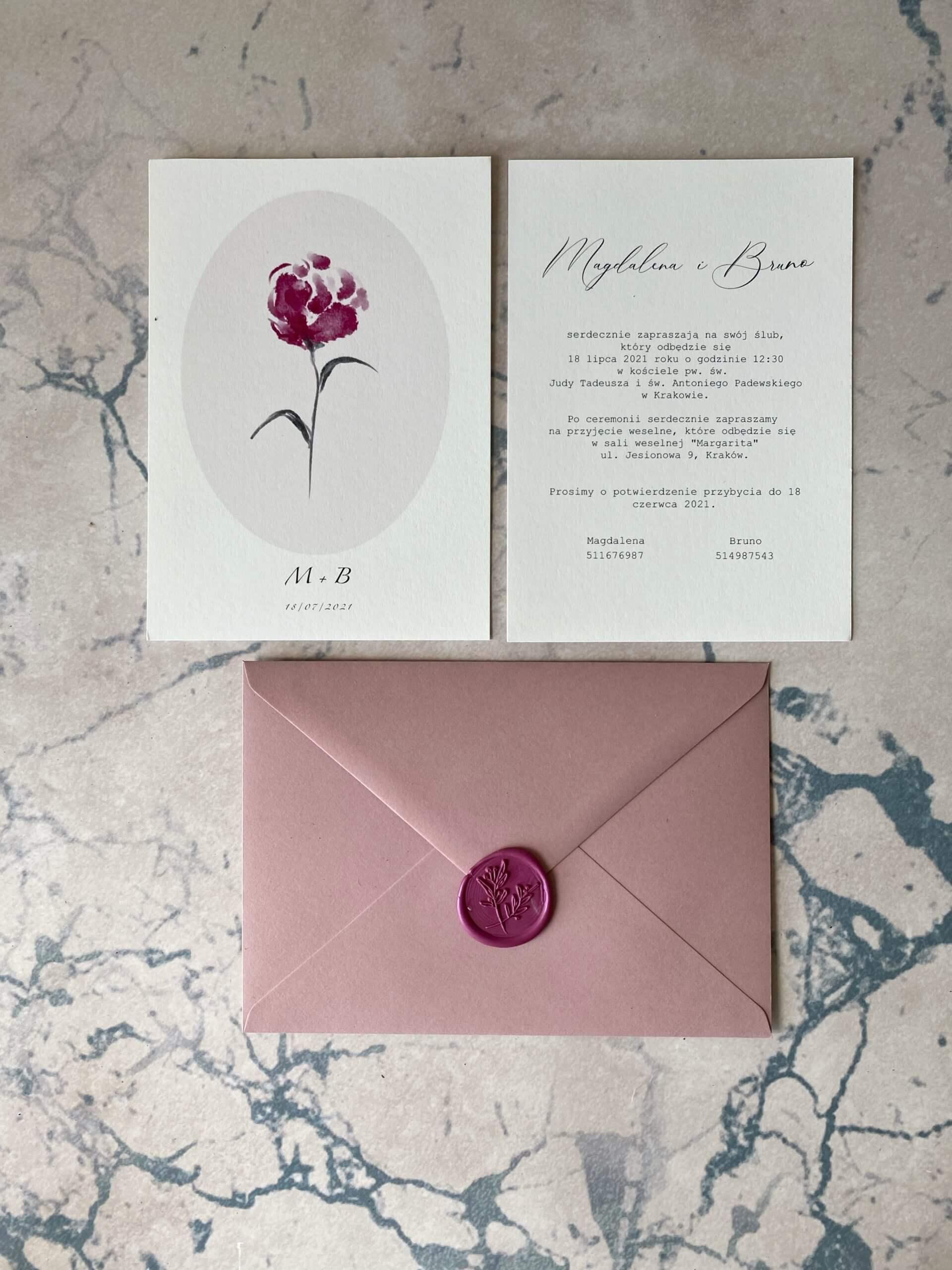 zaproszenie na ślub różowe